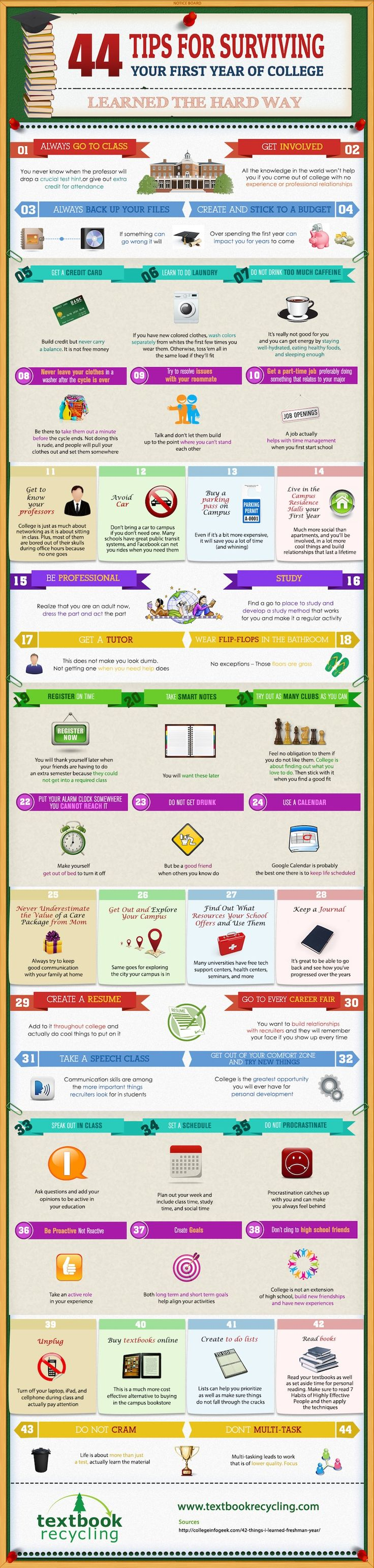 Surviving Your First Year of College. #Infographic. Always back up your files. If something can go wrong, it will.