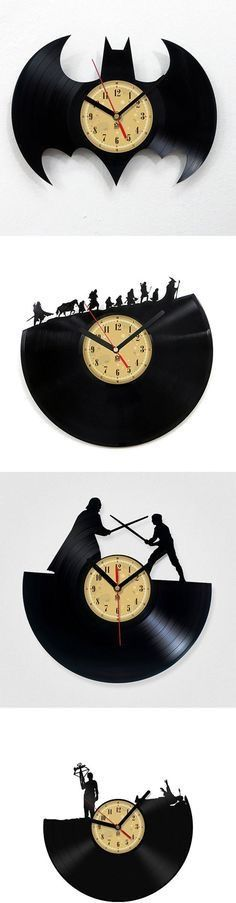 Vinyl Record Clock with Movie Scene