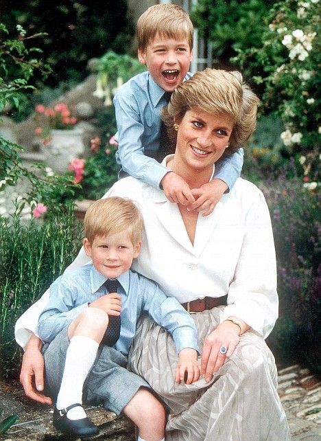 Lady Diana with Prince William and Prince Harry
