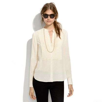 Silk Tux Shirt - blouses - Women's SHIRTS & TOPS - Madewell