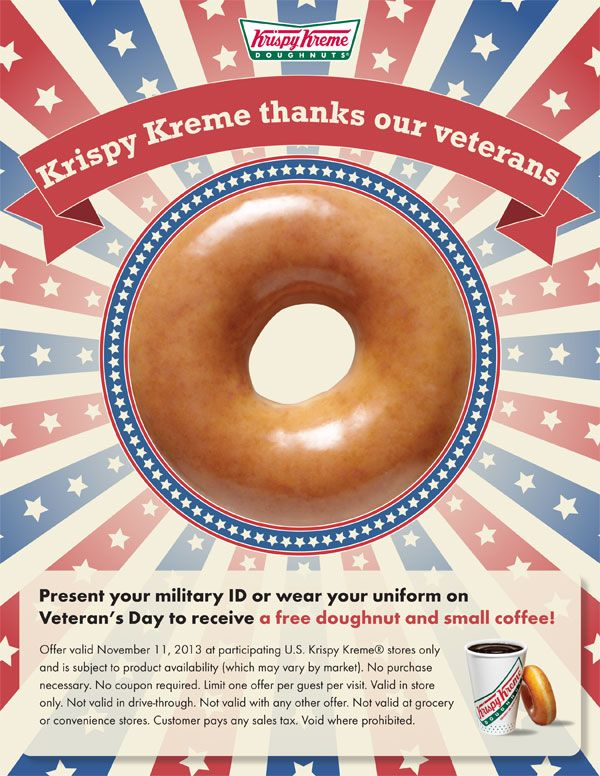 Veterans Day - Krispy Kreme Doughnuts and Coffee