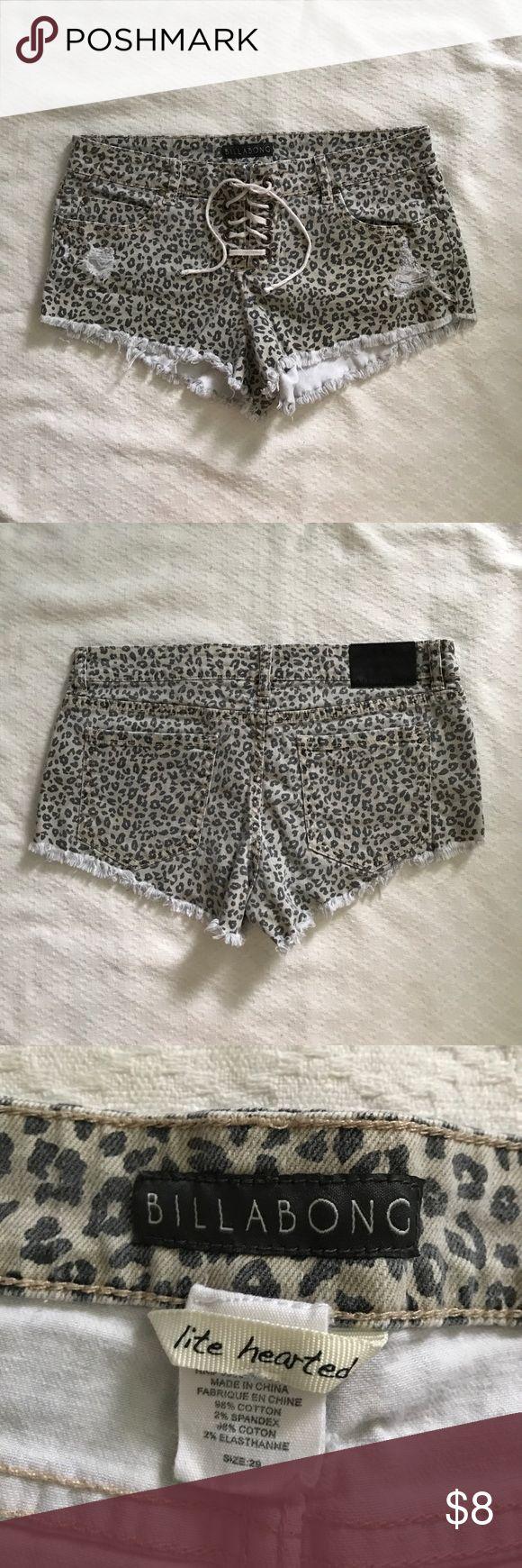 Billabong Cheetah Shorts (29) Slightly distressed & faded Billabong Shorts Jean Shorts