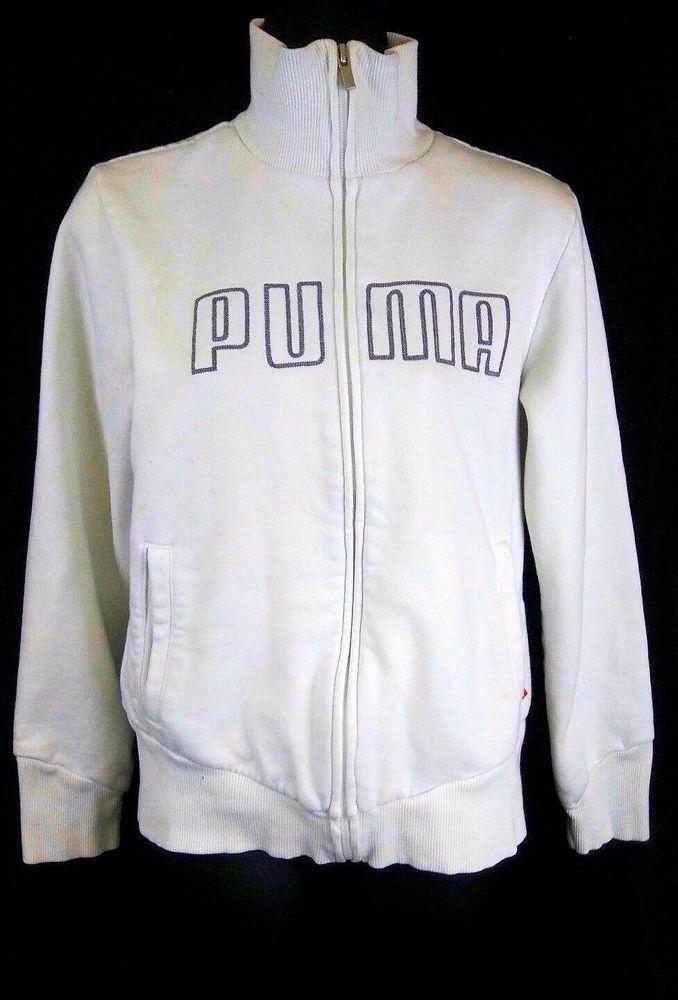 Puma Jacket Coat Size Large Fleece Lined White Gray Front Zipper Long Sleeve  #PUMA #Jacket #Casual