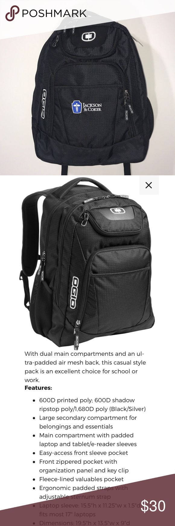 Ogio Excelsior Pack Backpack Embroidered Logo • Brand new with tags but DOES have my company logo embroidered on it {received this as part of our Christmas presents and I won't be using it} • Brand: OGIO • Style: Excelsior Pack • Tons of room & pockets OGIO Bags Backpacks