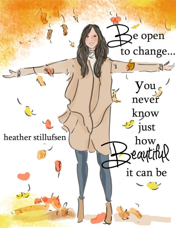 Cards for Women  Be Open to Change  Autumn by RoseHillDesignStudio