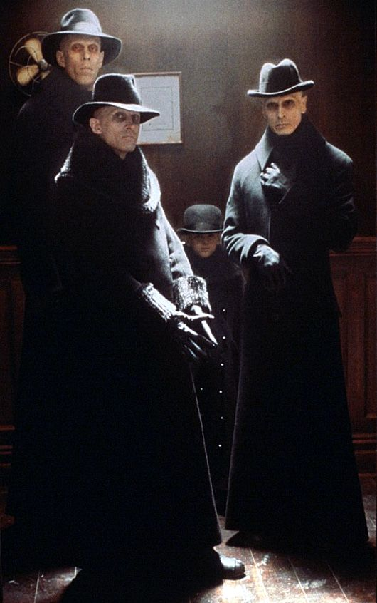 The Strangers from the movie Dark City.  Worst nightmare ever--I had an Old Hag/sleep paralysis dream and hallucinated one of these guys smashing my chest.