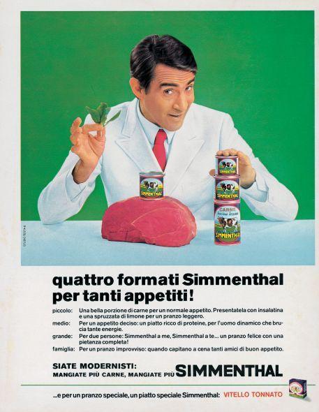 La pubblicità della carne in scatola Simmenthal negli anni '60  Di Studio Testa
