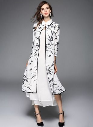 Silk Linen Others Maxi  I like the layers with the jacket over the dress Casual Buttons Dresses (1008977) @ floryday.com