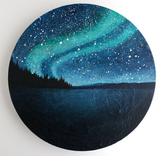 Northern Lights Circle Painting by TreeHollowDesigns on Etsy