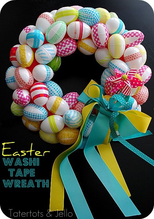 Washi Tape Easter Egg Wreath using plastic eggs. #washitape #easter #yearofcelebrationsPlastic Eggs, Tape Wreaths, Easter Wreaths, Easter Eggs, Washi Tape, Spring, Washitape, Eggs Wreaths, Easter Ideas