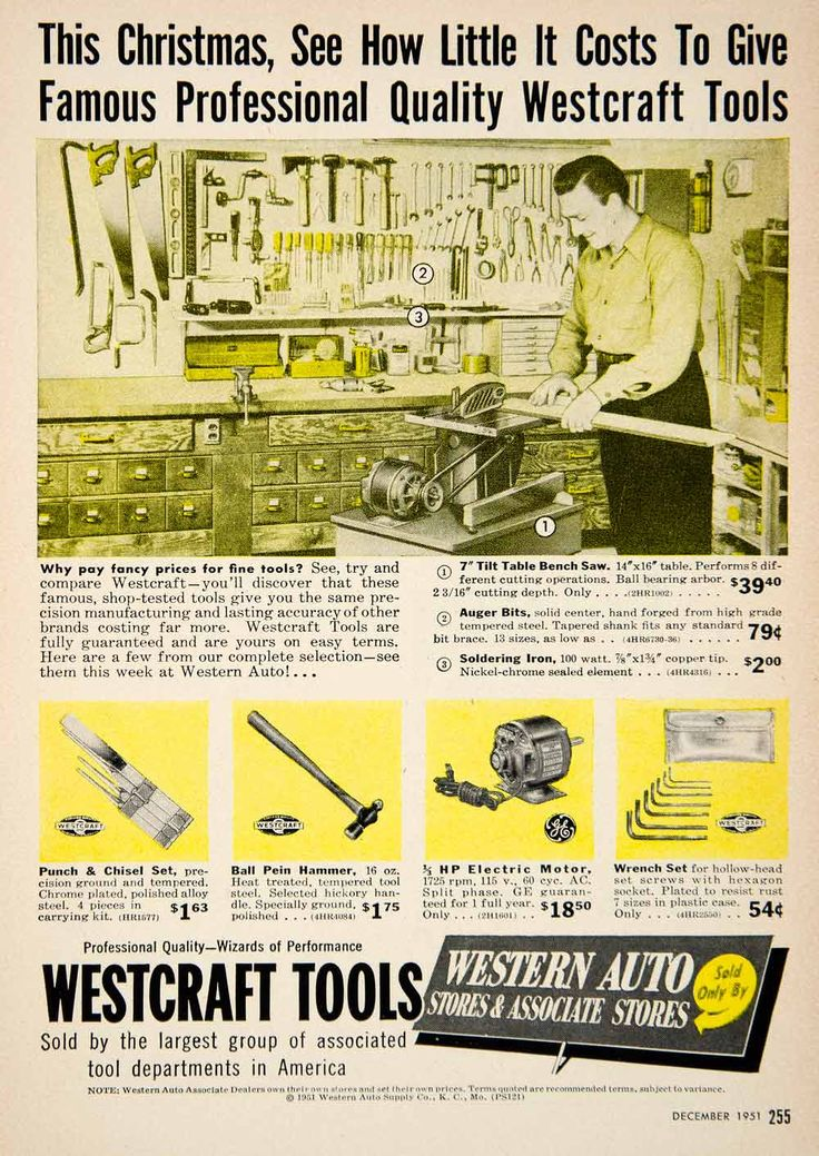 1951 Ad Westcraft Tools Western Auto Electric Motor Advertisement Auger PSC1