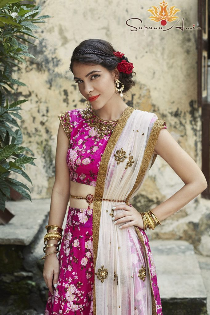 Fuschia pink floral lengha by Sapana Amin - a gorgeous girly outfit for your Sangeet - Indian bride - Indain wedding - hot pink lengha - Indain designer - Indian couture #thecrimsonnbride