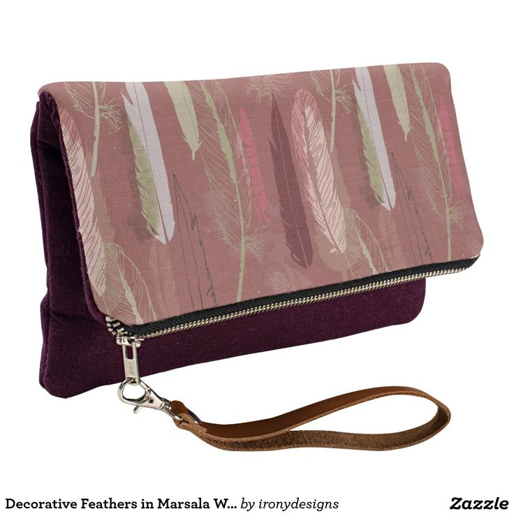 Decorative Feathers in Marsala Wine Clutch