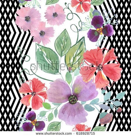 Colorful floral watercolor seamless illustration.   hand drawn flowers on a white background with vertical black decorative stripes .