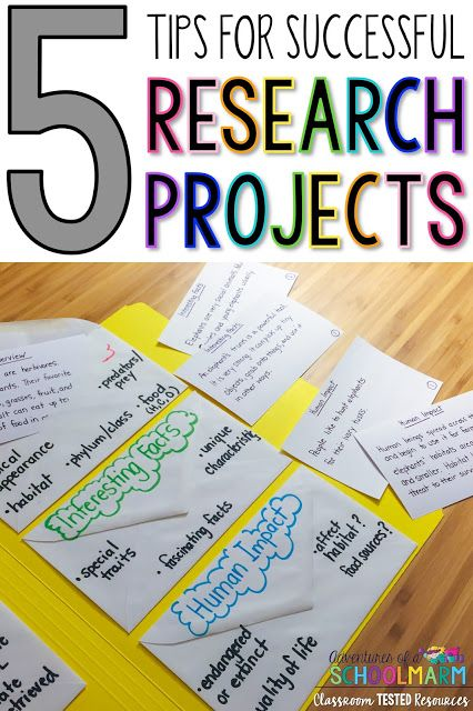 5 Tips for Successful Research Projects - Overwhelmed by the thought of doing a research project with your elementary students? These tips will help streamline the process so that ALL of your students will be successful, including students that struggle to write complete sentences. Use these tips to make your elementary research projects engaging, motivating, and enjoyable again!  (Adventures of a Schoolmarm on Classroom Tested Resources)