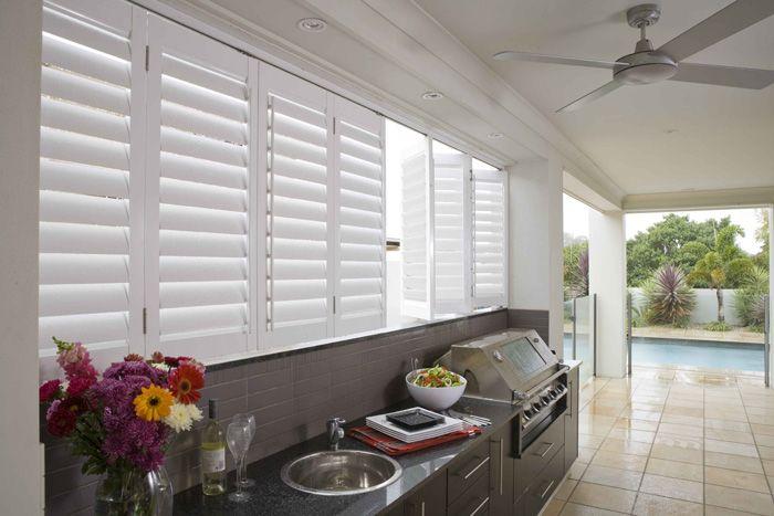 Outdoor plantation shutters