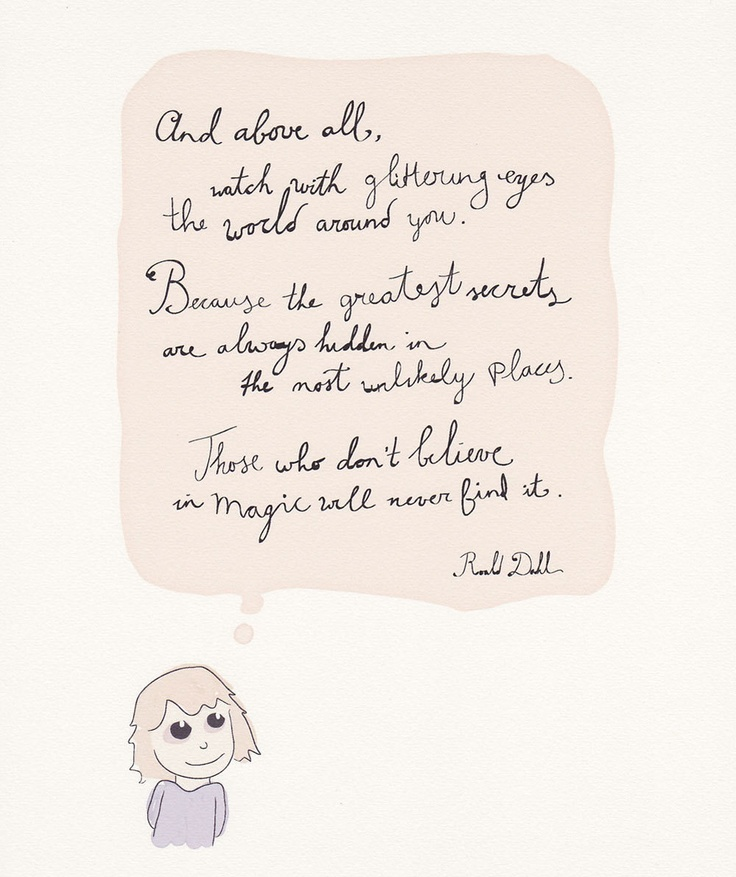 Handwritten Glittering eyes quote Roald Dahl, one of my fav authors