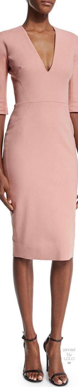 Victoria Beckham Half-Sleeve V-Neck Sheath Dress, Blush | LOLO❤︎ via @msmillionairess. #dresses #VictoriaBeckham
