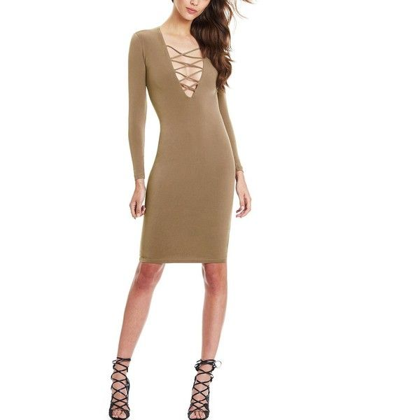 Yoins Yoins Camel Bodycon Lace Up Dress ($12) ❤ liked on Polyvore featuring dresses, cocktail dresses, tan, white plunging neckline dress, white bodycon dress, sexy bodycon dresses, white plunge neck dress и bodycon dress