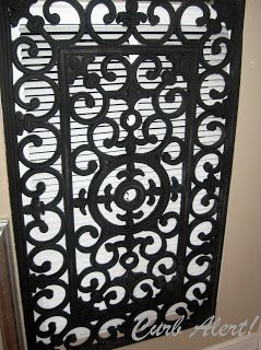 Curb Alert!: Repurposed Door Mat to Cover an Ugly Return Air Vent - paint the vent and the mat the same color, so it blends better