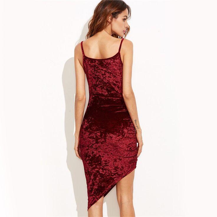 Vestido Assimétrico Vermelho Sangue Veludo Festa Elegante Luxo Feminino