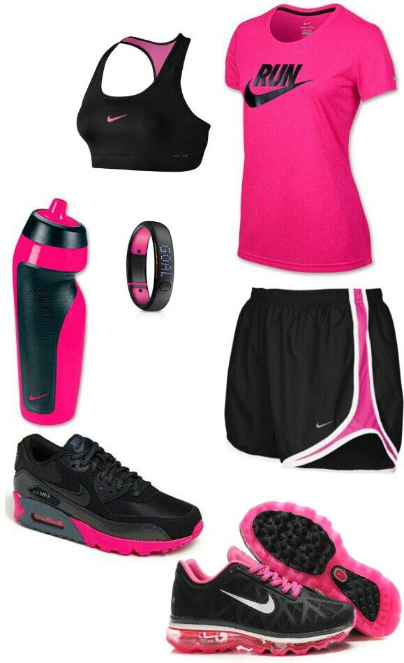 Neon pink black nike workout outfit