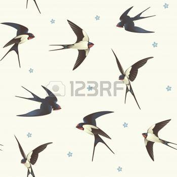 hirondelle: Seamless avec motif avale avec une volée d'oiseaux