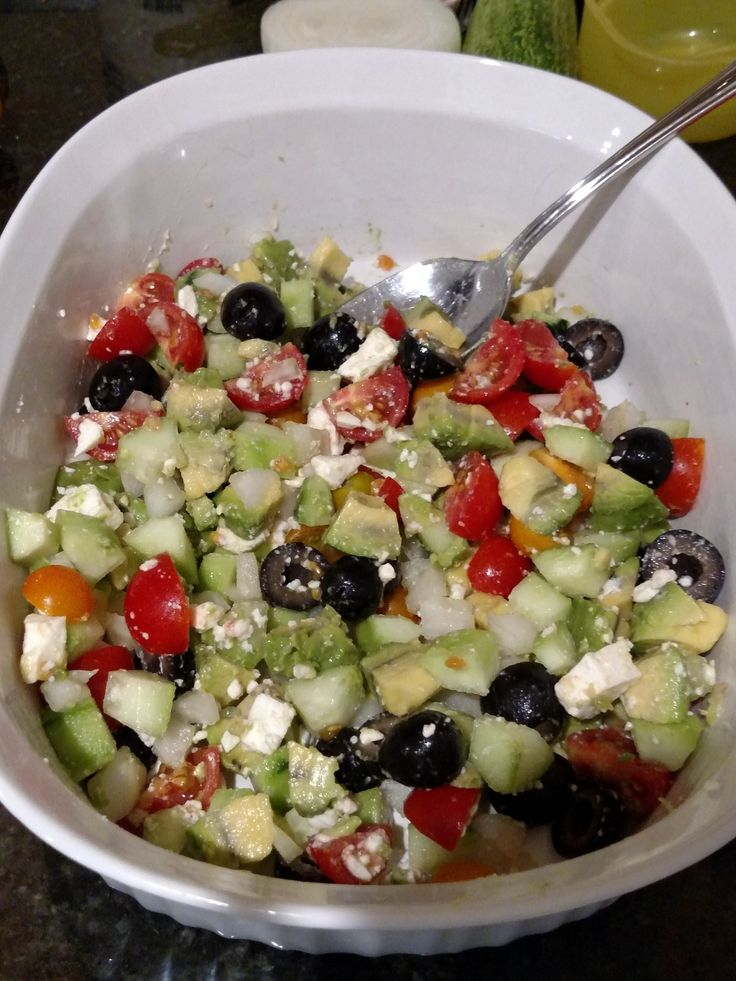 Greek Cucumber Avocado Salad is simple to put together and has a fresh, bold flavor!