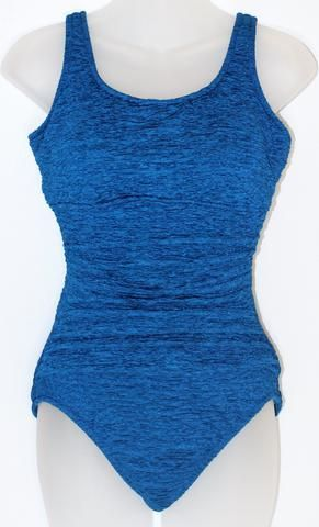 Mastectomy Swimsuit 'Krinkle Empire Maillot' One Piece in Marine Blue