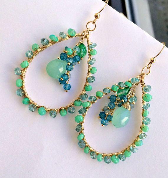 Opal Earrings Mint Aqua Green Gem Hoop Wire Wrap Ethiopian