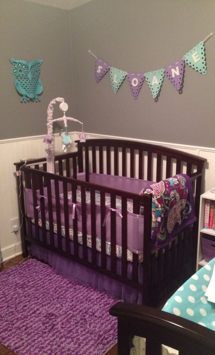 Purple and teal nursery
