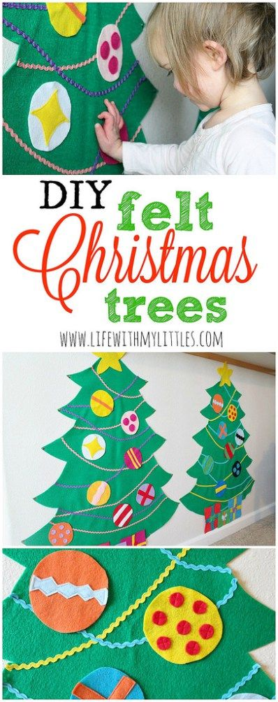 These DIY Felt Christmas Trees are so cute, so easy, and so fun! What a great way to keep your kids busy during the holidays! And I love that it's toddler-friendly!