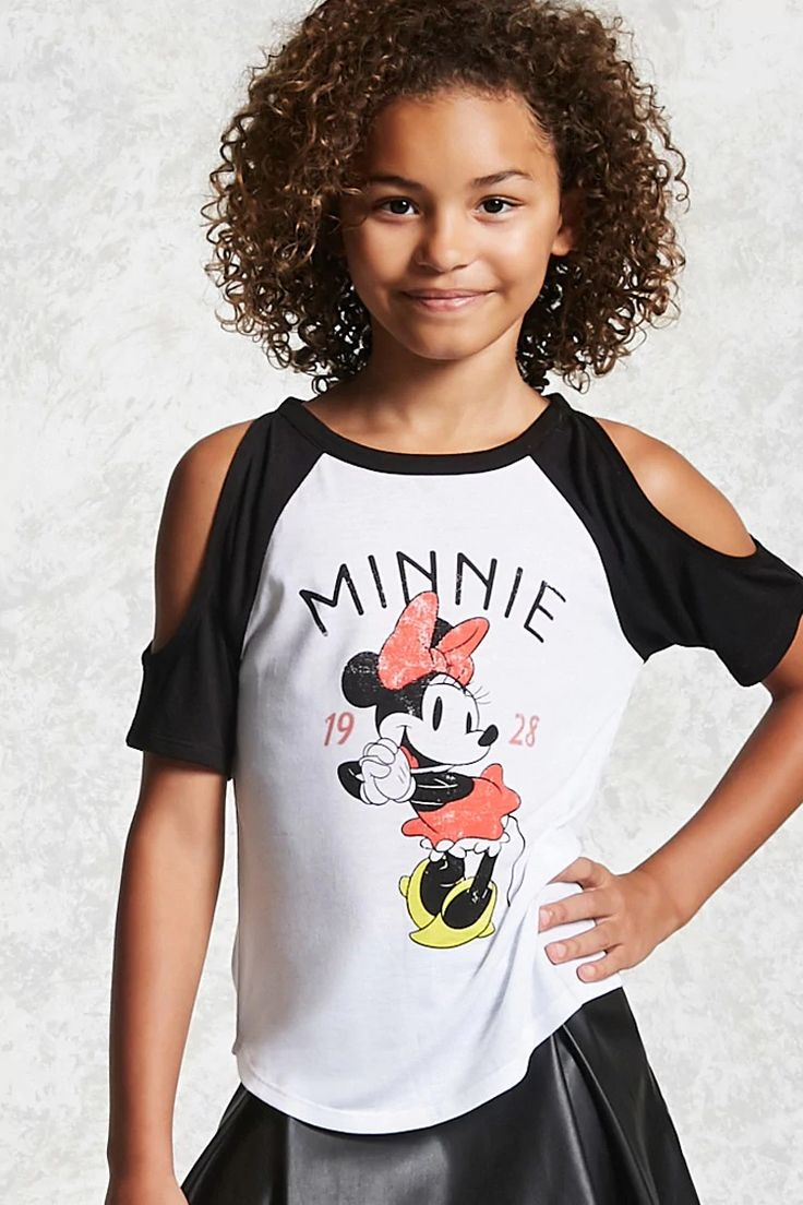 """Forever 21 Girls - A slub knit raglan tee featuring open shoulders, a faded """"Minnie 1928"""" graphic, an image of Minnie Mouse, a round neck, and a curved hem.<p>- Officially licensed product</p>"""