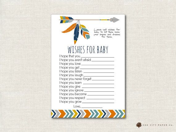 Tribal Wishes for Baby Card Tribal Wishes by OakCityPaperCompany