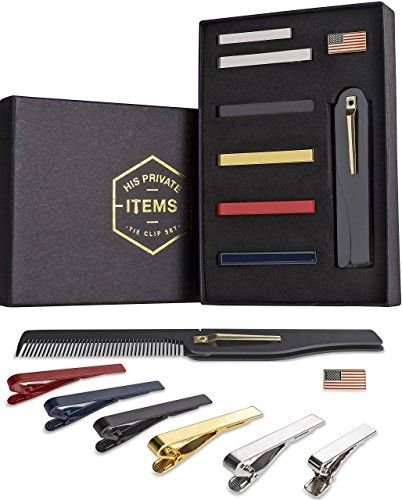 "Tie Bar Clip Set for Men -[6 Pc]- Pinch / Hold Skinny & Regular Ties - Gift Box  VERY CLASSY LOOK FOR ANY STYLE TIE -­ gold , red , navy blue , black and silver tie clip to match ANY 2.2"" or wider tie. We even include a skinny 1.7"" clip for your skinny ties. Wear one to your next wedding, formal dinner, or meeting at work!  KEEP YOUR TIE PERFECT IN PLACE- ­ Each tie bar clip is equipped with a double mechanism to ensure your tie stays in place for a professional look. Smooth texture al..."
