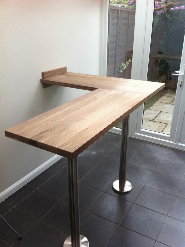 Walnut L shaped breakfast bar Kitchen bar table, Kitchen