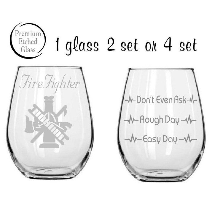 firefighter glass,Etched wine glasses,firefighter gift,birthday gifts,etched glasses,stemless wine,Etched gift,engraved gifts,firefighter by MileStoneArtworks on Etsy