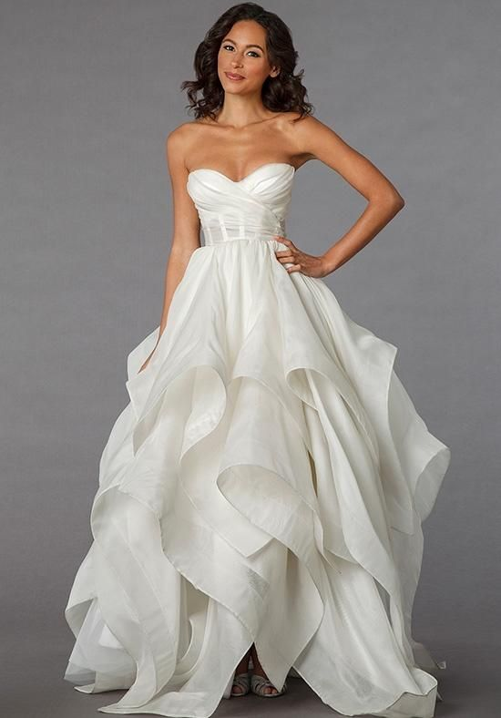 Off white organza ball gown with a sweetheart neckline, empire waist and tiered ruffle skirt | Pnina Tornai for Kleinfeld | https://www.theknot.com/fashion/4287-pnina-tornai-for-kleinfeld-wedding-dress