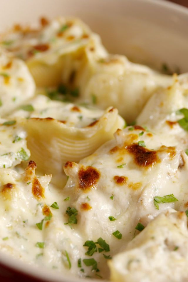 Chicken Alfredo Stuffed Shells  - Delish.com. Replace past with steamed, drained cauliflower.