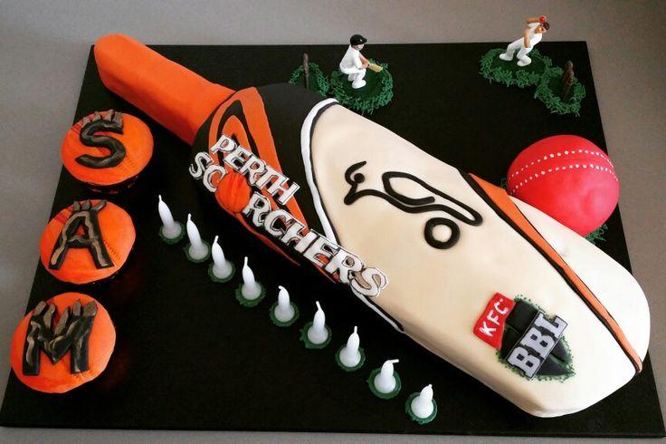 Sam's 9th birthday cake. Perth Scorchers / Kookaburra cricket bat n ball. Feb 2016.