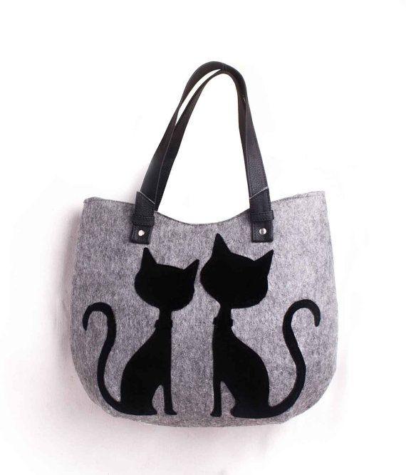 Women Felt bag ladies handbag casual bag black felt di volaris