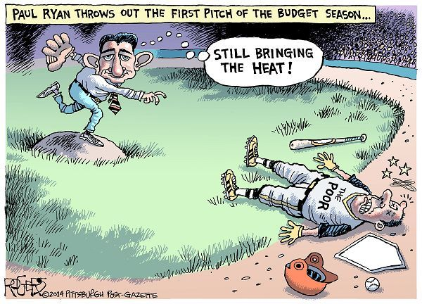 Cartoon by Rob Rogers - Budget Pitch