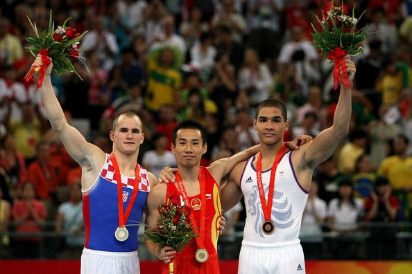 Xiao Qin (🇨🇳), Filip Ude (🇭🇷), and Louis Smith (🇬🇧)  Pommel Horse  2008 Beijing 🇨🇳