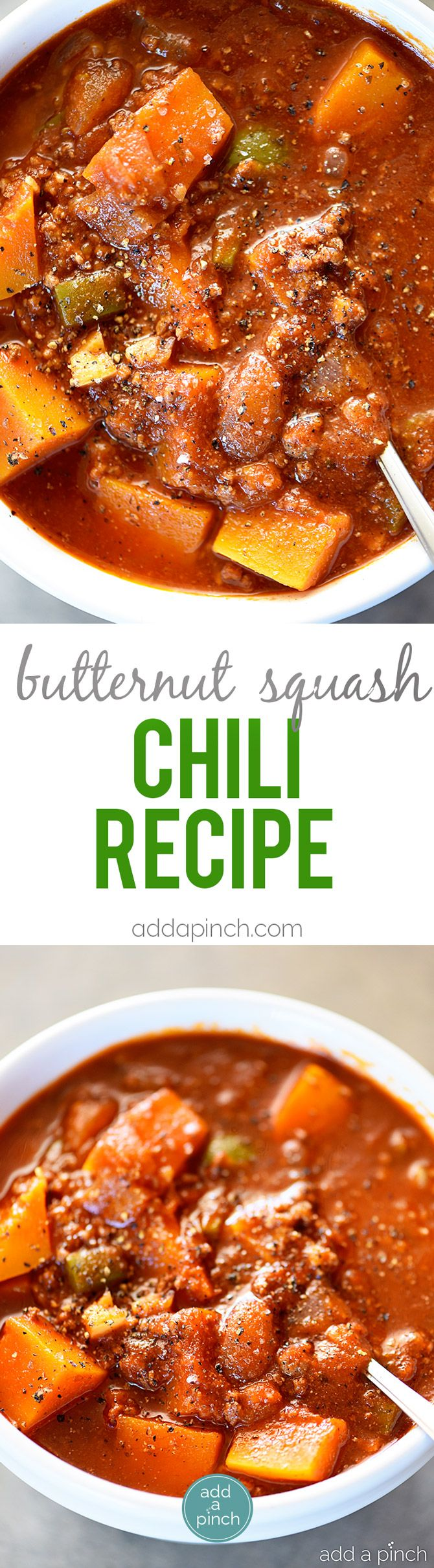 Butternut Squash Chili recipe made with ground beef or turkey, butternut squash, vegetables, and spices makes a hearty and delicious chili recipe! Recipe includes changes for Paleo, Whole 30 and Vegetarian needs. Also includes make ahead and freezer instructions! // addapinch.com
