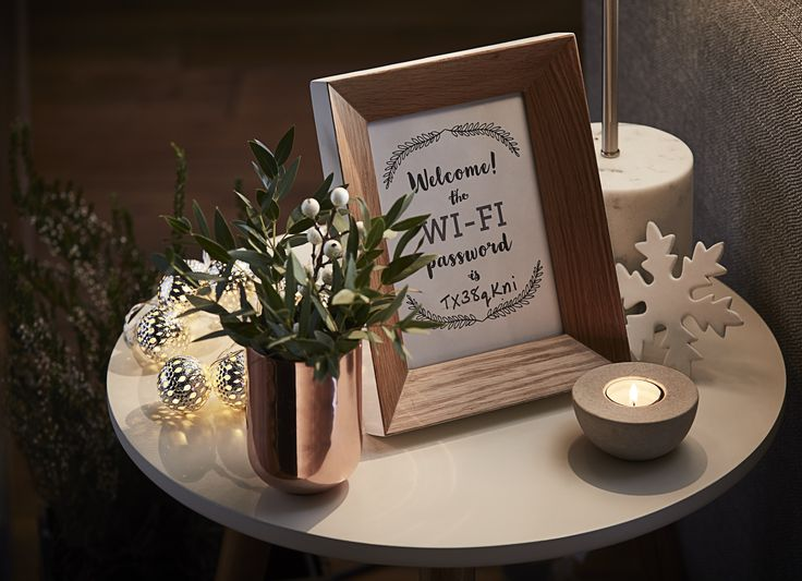 Forgotten the wifi password? A problem of the past with this cute decor! #FlavoursofXmas PRINTABLE: http://blog.dfs.co.uk/wp-content/uploads/2016/10/WIFI-code-print-out.pdf