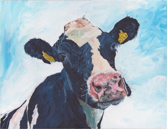 0254 Irish Friesian Cow  Original on canvas by dermotogrady, $195.00