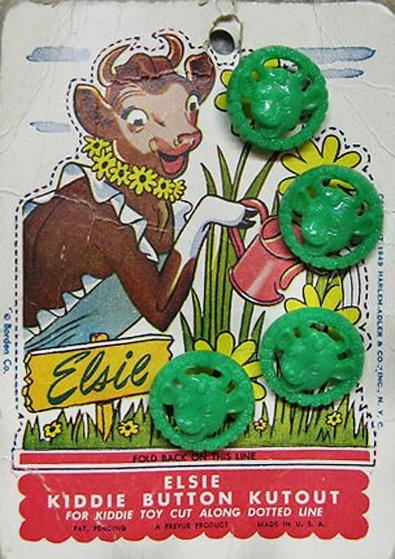 When we were young we played with old buttons in Mom's button tin. We would have loved these. ALady. Rare to find on original card ~ Elsie the Cow vintage buttons.