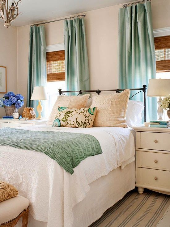 2014 Casual Bedrooms Decorating Ideas. relaxing bedroom. brown blinds, robin's egg blue curtains, white bedding, cream furniture