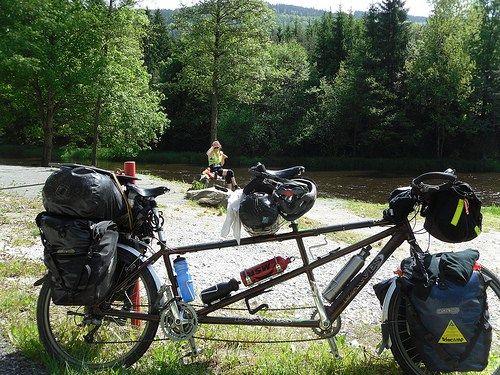 janyis and tandem at the river nr ceske krumlov, Czech Republic