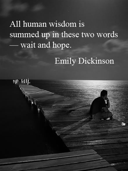 """All Human Wisdom is Summed Up in These Two Words - Wait and Hope."" ~Emily Dickinson"